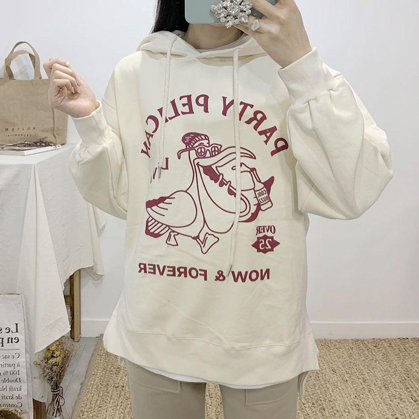 Pelican printing hooded T-shirt
