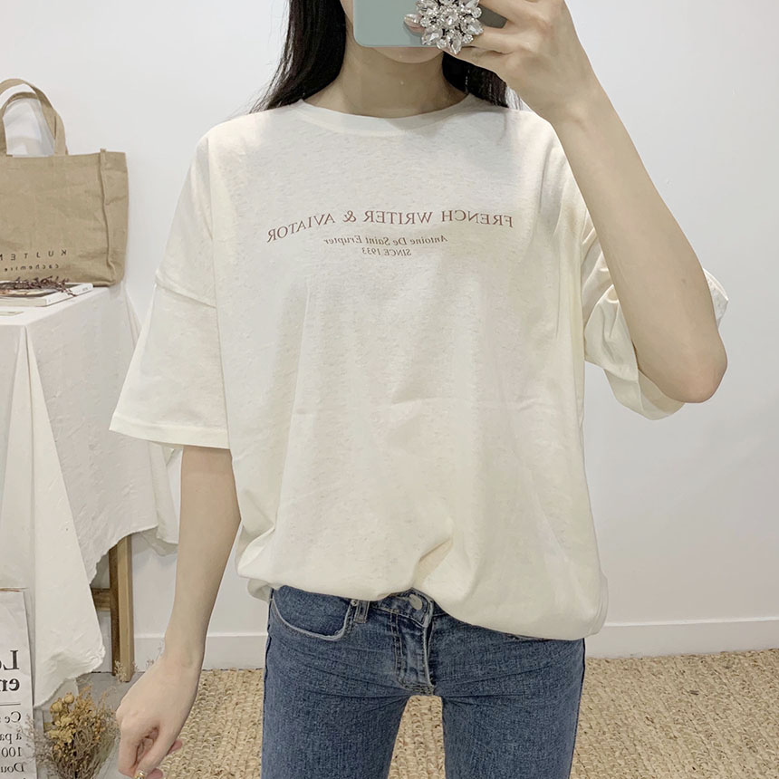 French lettering round neck short sleeve t shirt