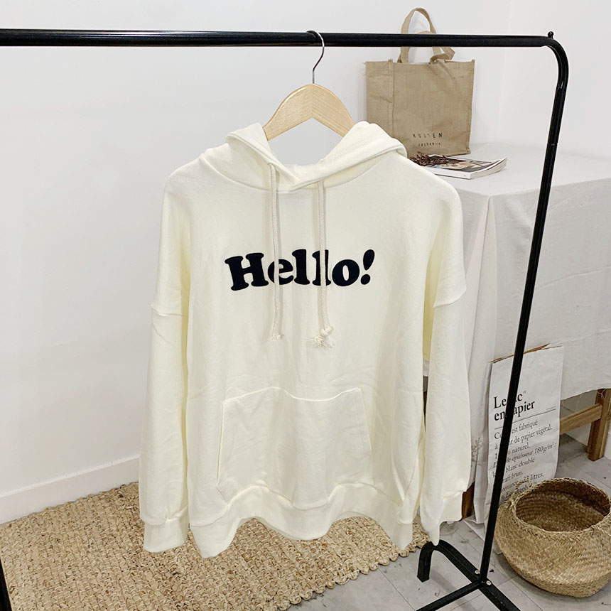Hello lettering hooded T-shirt