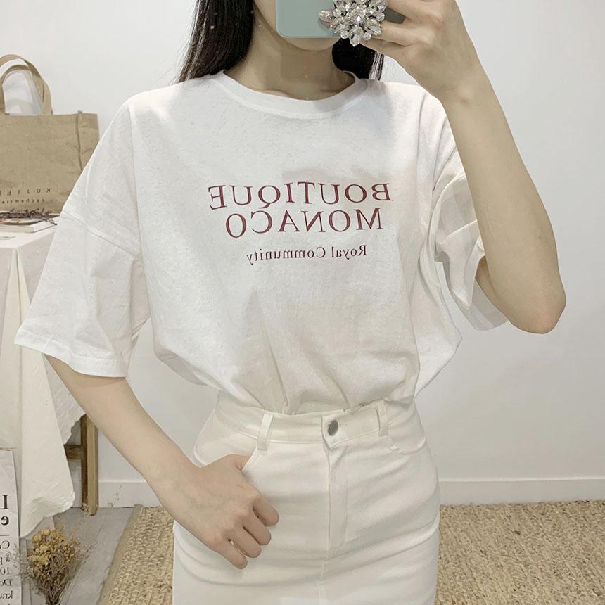 Boutique lettering round neck short sleeve t shirt