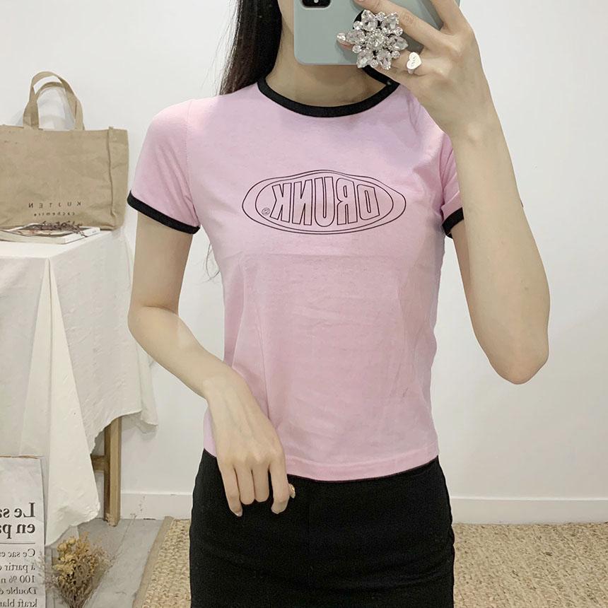 Drunken color round-neck cropped short-sleeved T-shirt
