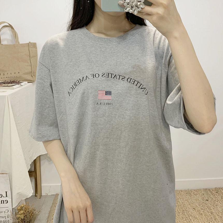 America lettering round neck short sleeve t shirt