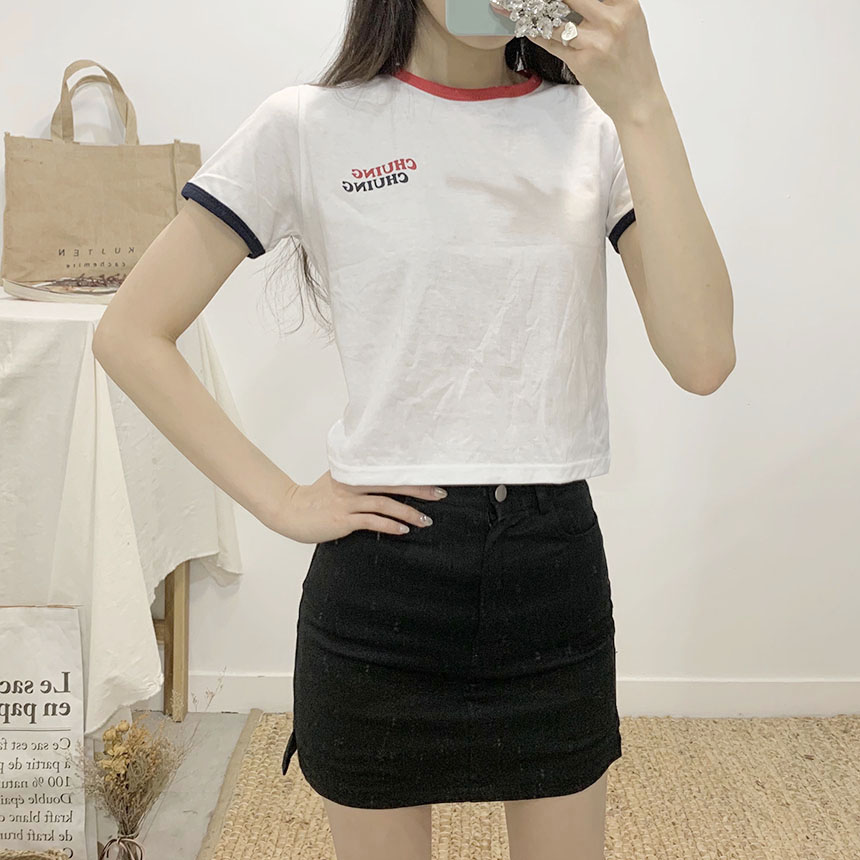 Chewing color round-neck cropped short-sleeved T-shirt