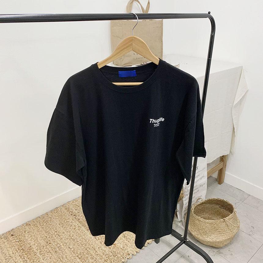 Floating Lettering Round Neck Short Sleeve T-Shirt
