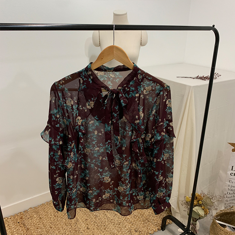 Balming see-through flower blouse