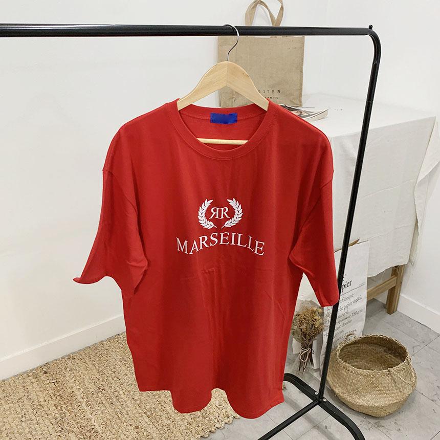 Marseille lettering round neck short sleeve t-shirt