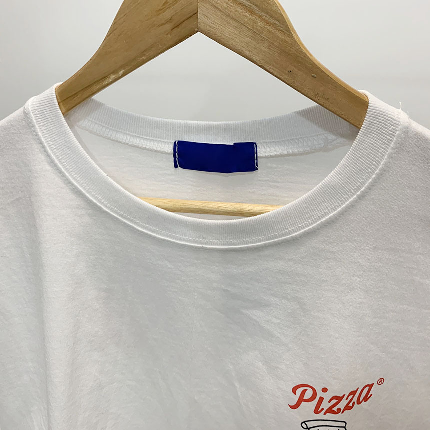 Pizza printing round neck short sleeve t-shirt