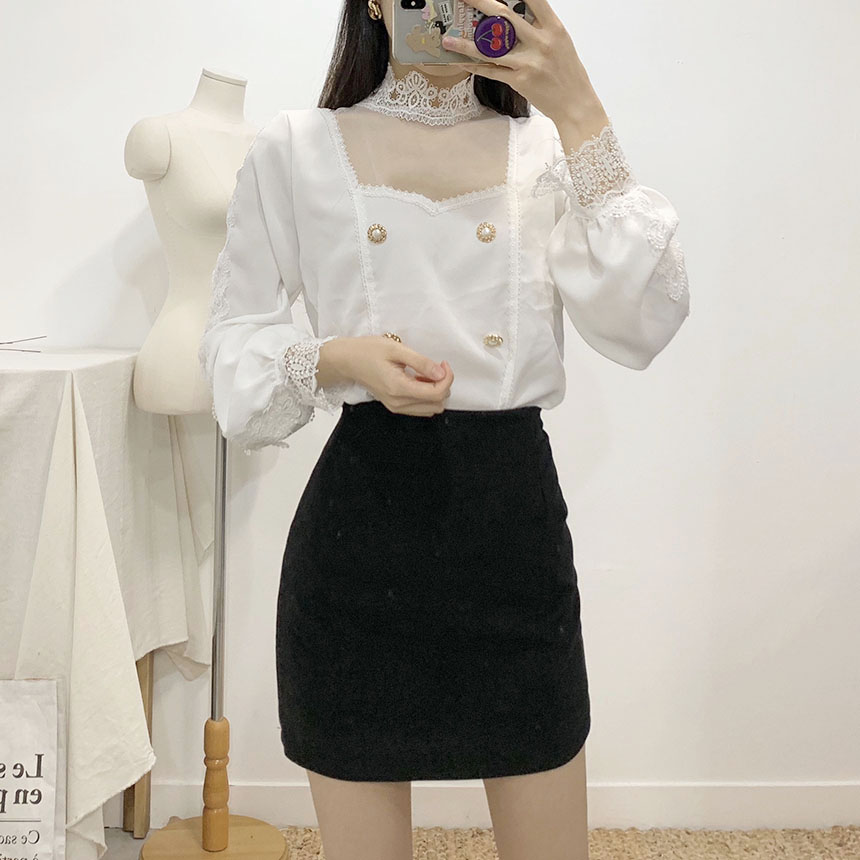 Cation lace see-through blouse 2colors