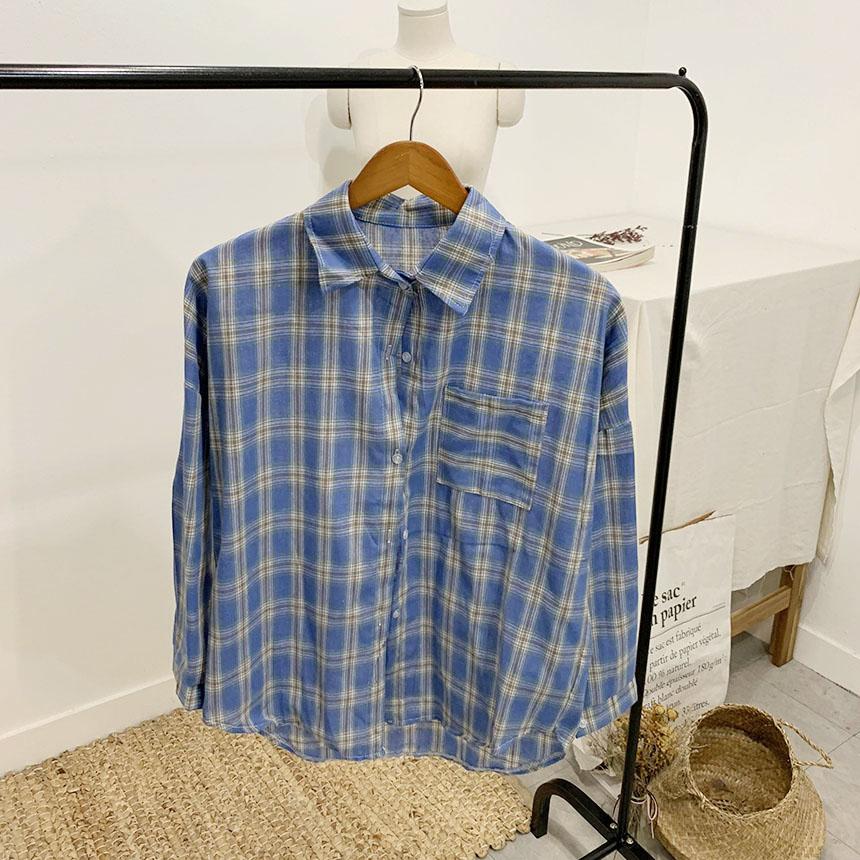 Resin vintage check color shirt