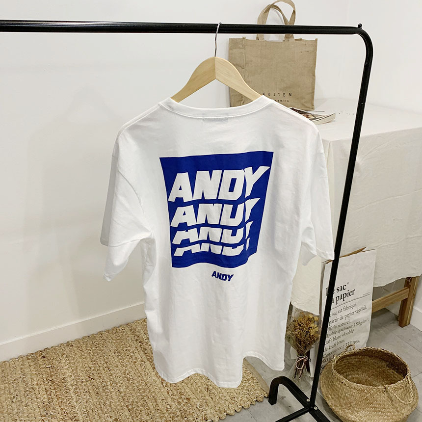 Andy Lettering Round Neck Short Sleeve T-Shirt