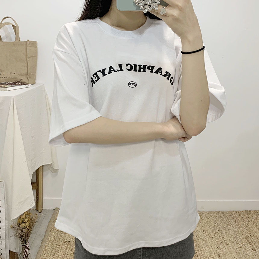 Graphic lettering round neck short sleeve t-shirt