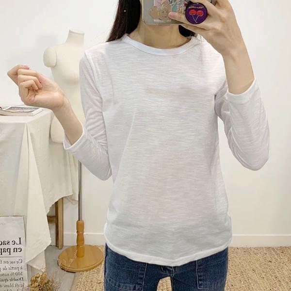 Paisley slab round neck long sleeve t-shirt
