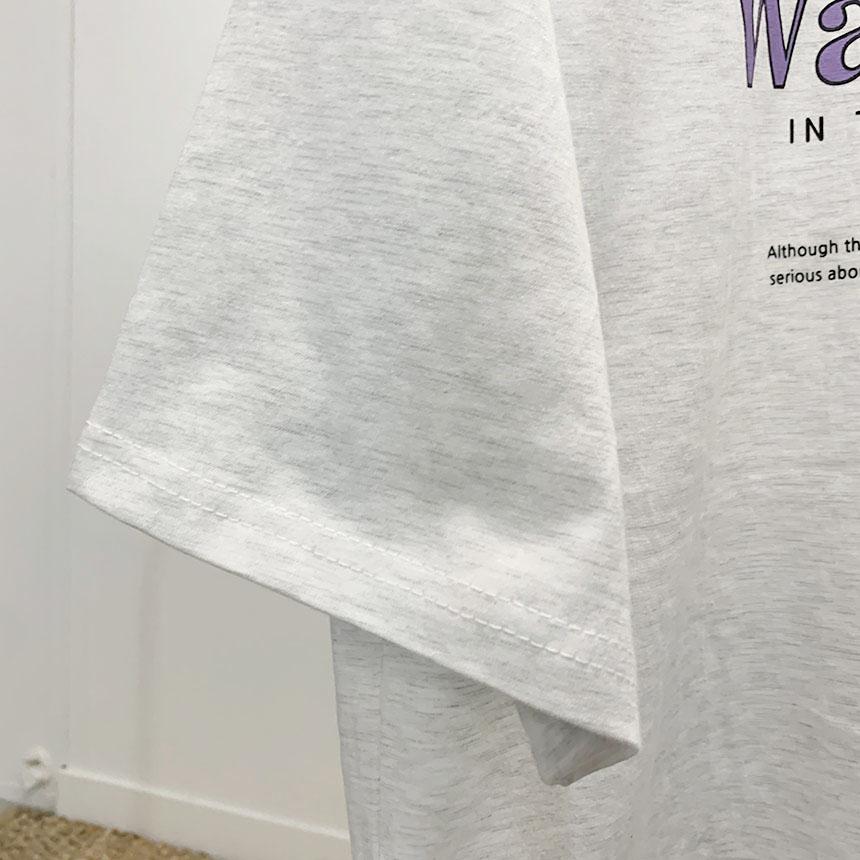 Word Lobe Lettering Round Neck Short Sleeve T-Shirt