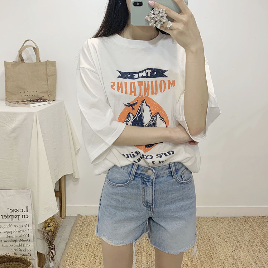 Mountain printing round neck short sleeve t-shirt