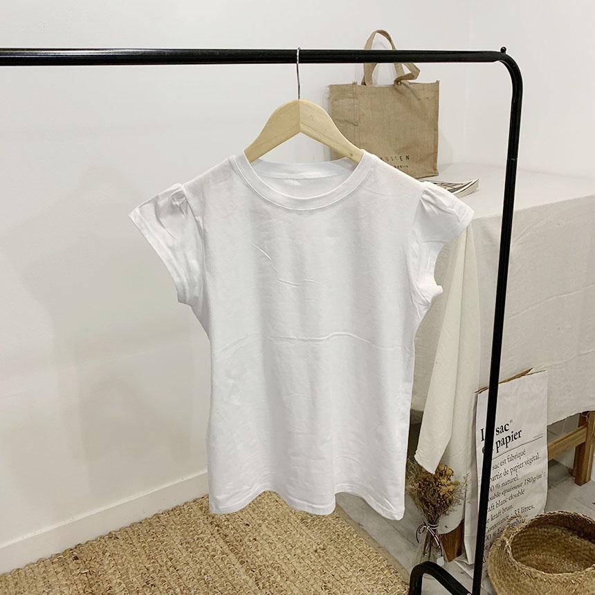 Ublin Shirring Round Neck Short Sleeve T-Shirt