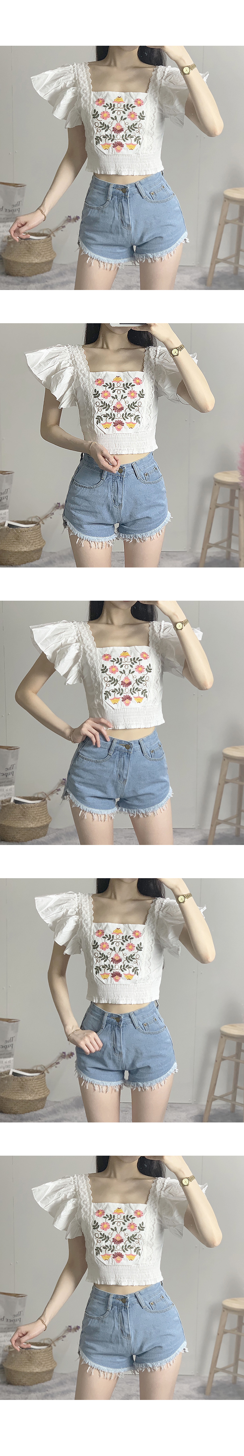 Square wing embroidery cropped blouse
