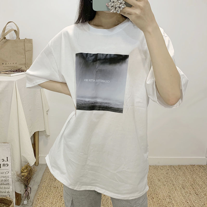Cigarette Printing Round Neck Short Sleeve T-Shirt