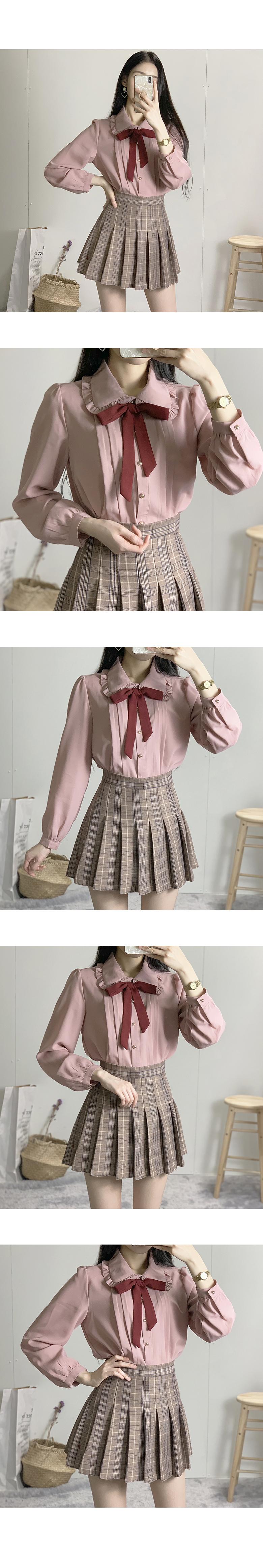 Delmo round collar ribbon blouse
