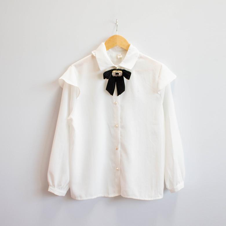 Jane brooch set ruffle blouse