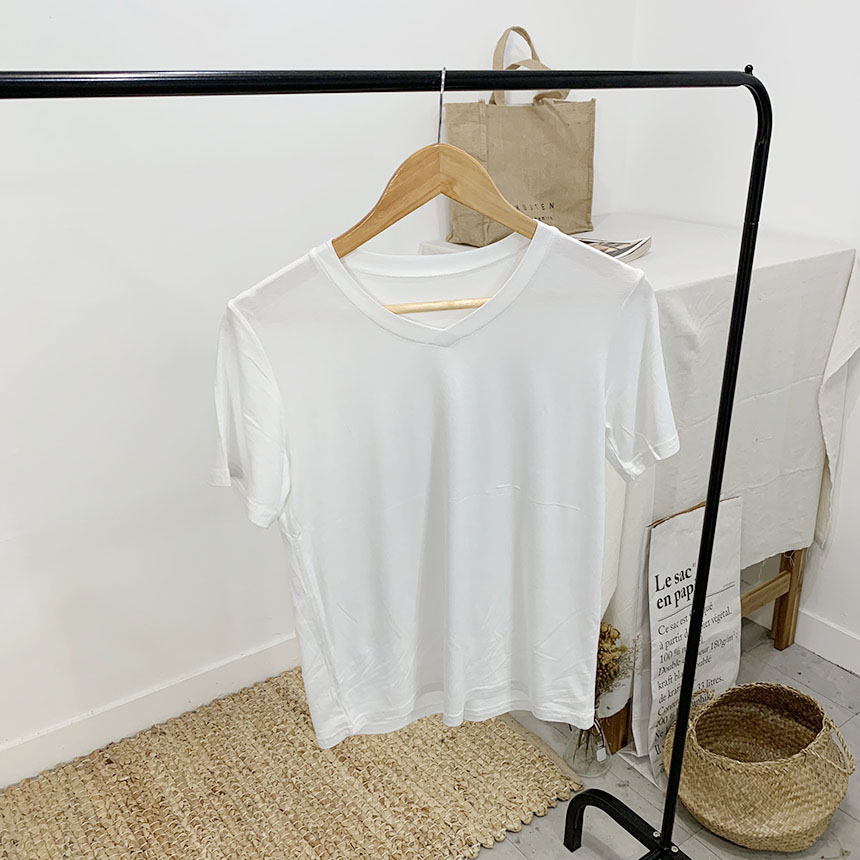 Mosslan V-neck plain short-sleeved T-shirt