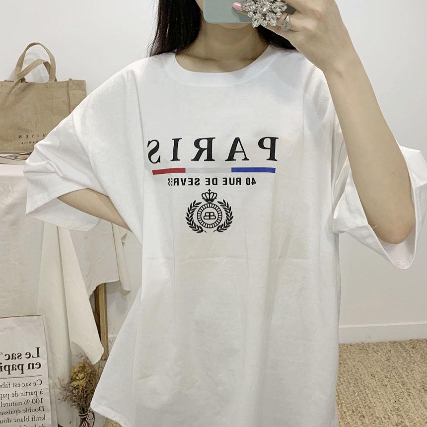 Paris lettering round neck short sleeve t shirt