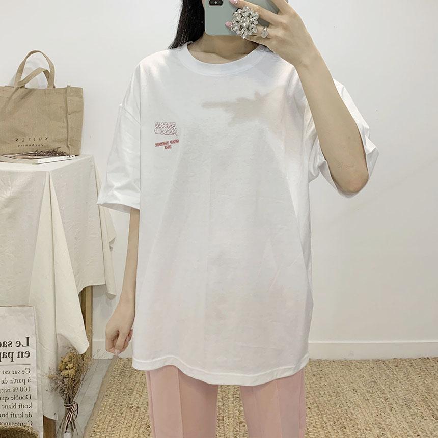 Island-printed round-neck short-sleeved T-shirt