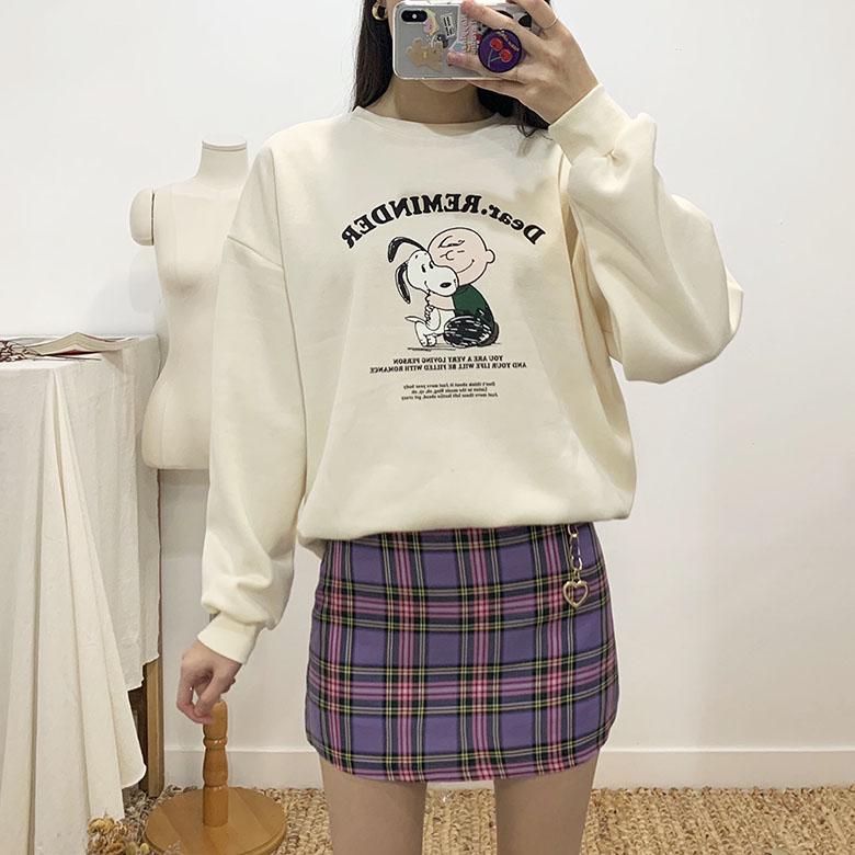 Lovely Heart Chain Check Mini Skirt