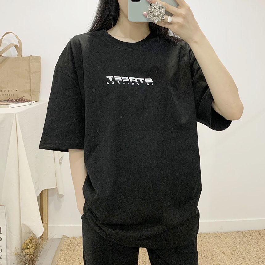 Street Lettering Round Neck Short Sleeve T-Shirt