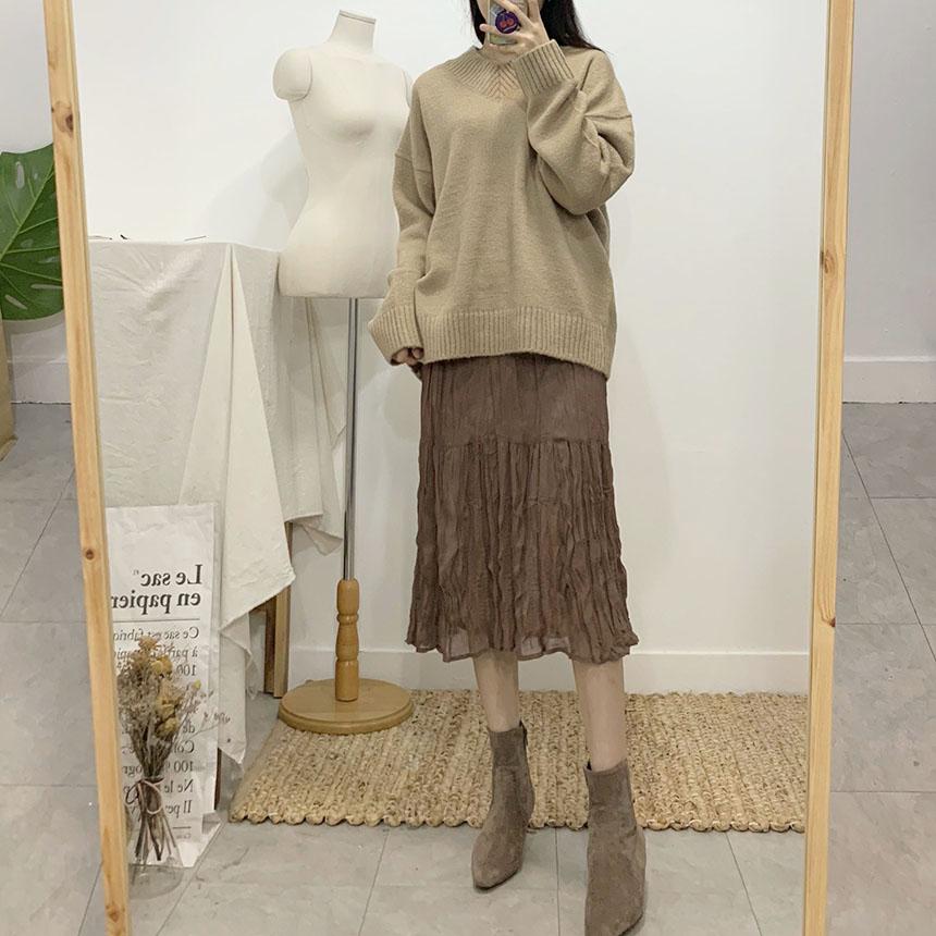 Perfume Pleated Long Skirt 6colors