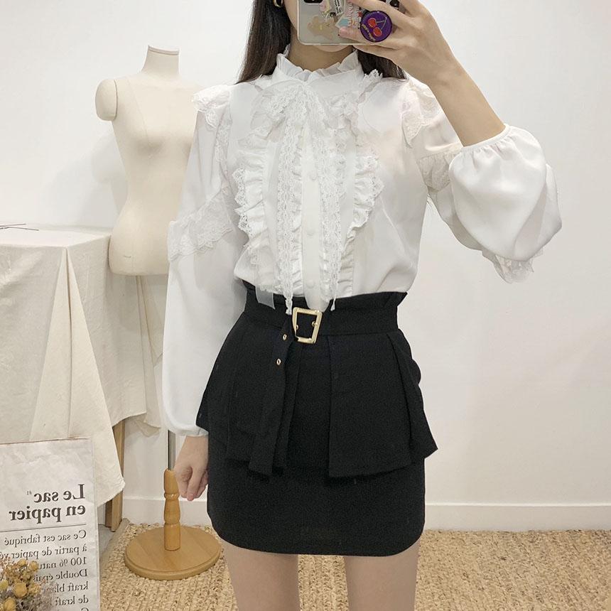 Vichy wrap belt mini skirt 2colors