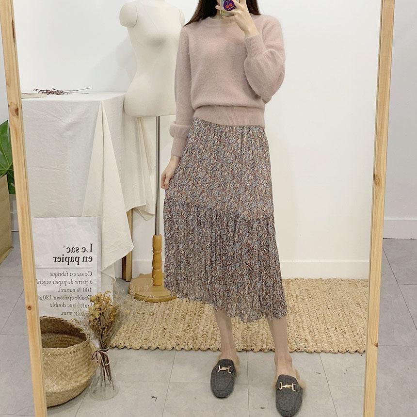 Rudeli pleated long skirt 2colors