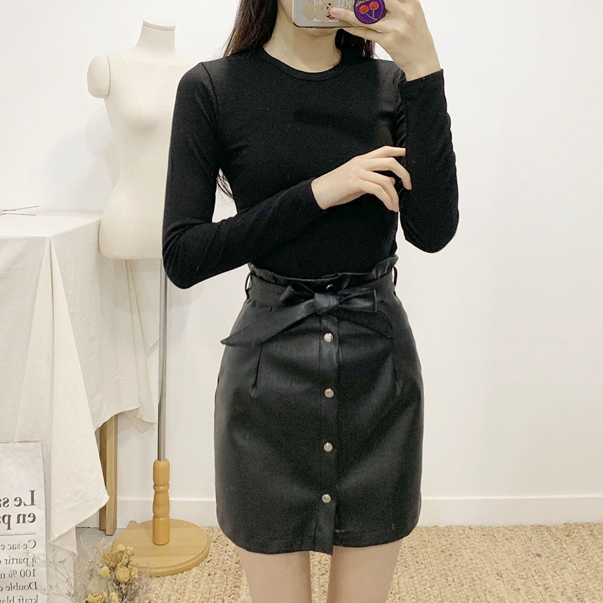 Tulle ribbon leather mini skirt