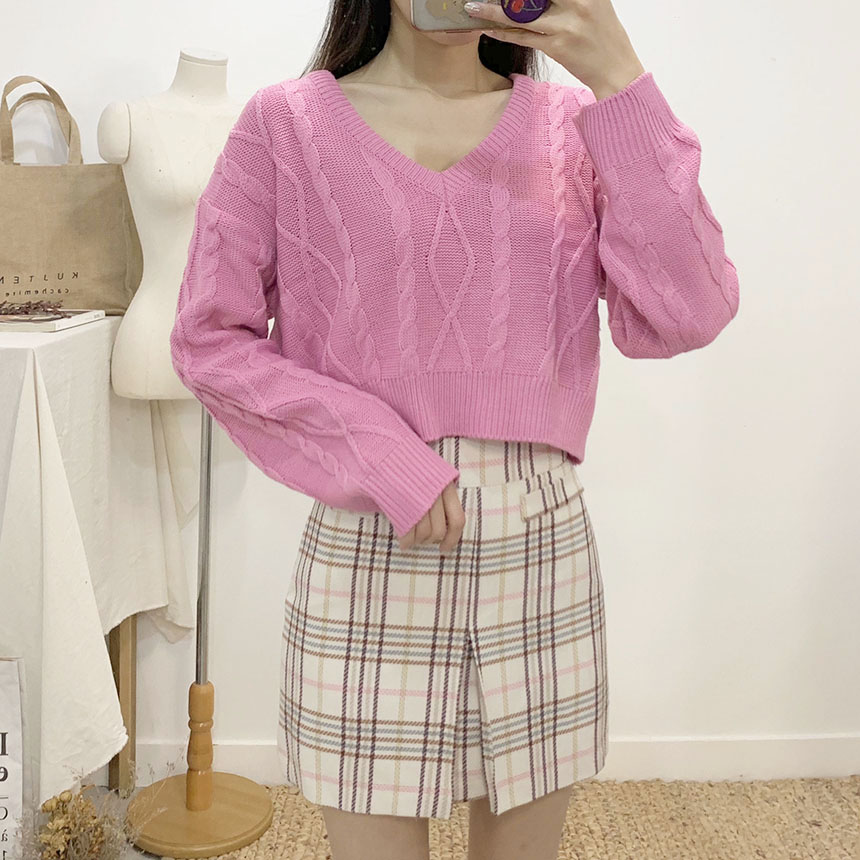 Wester pin-tuck check mini skirt