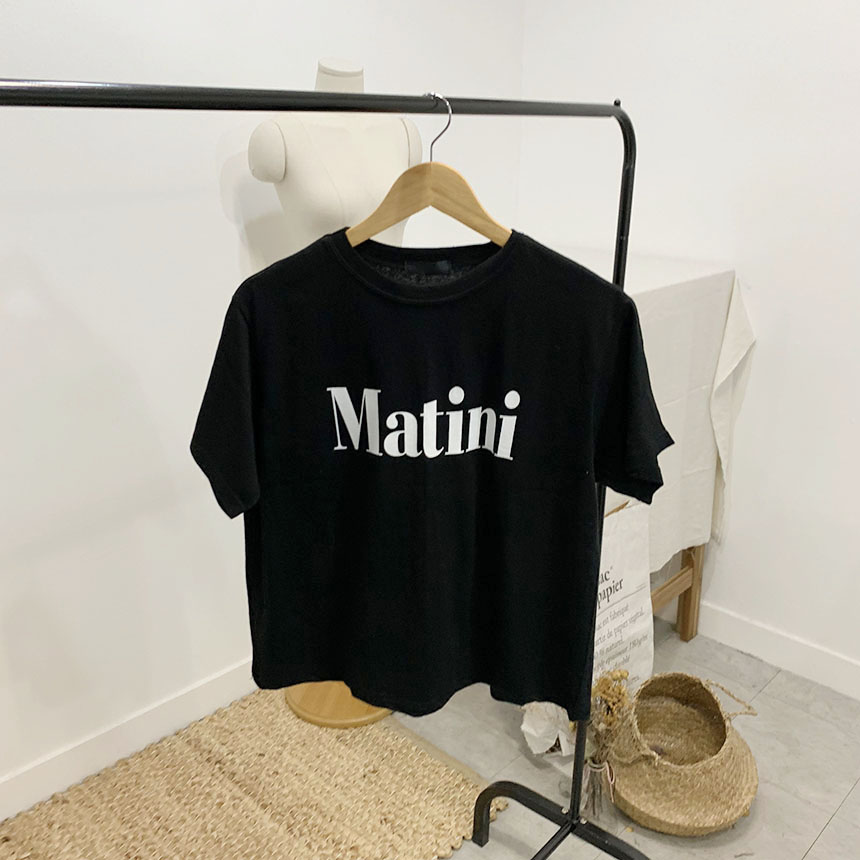 Martini lettering round neck short sleeve t-shirt