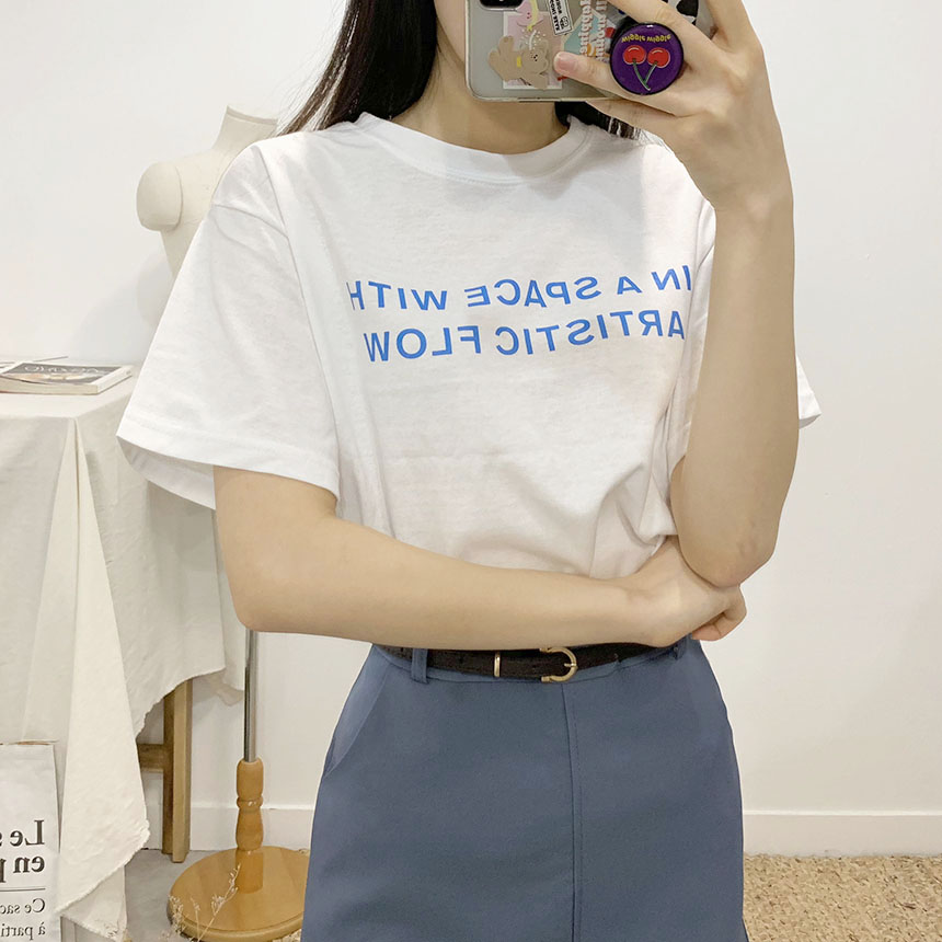 Space Lettering Round Neck Short Sleeve T-Shirt