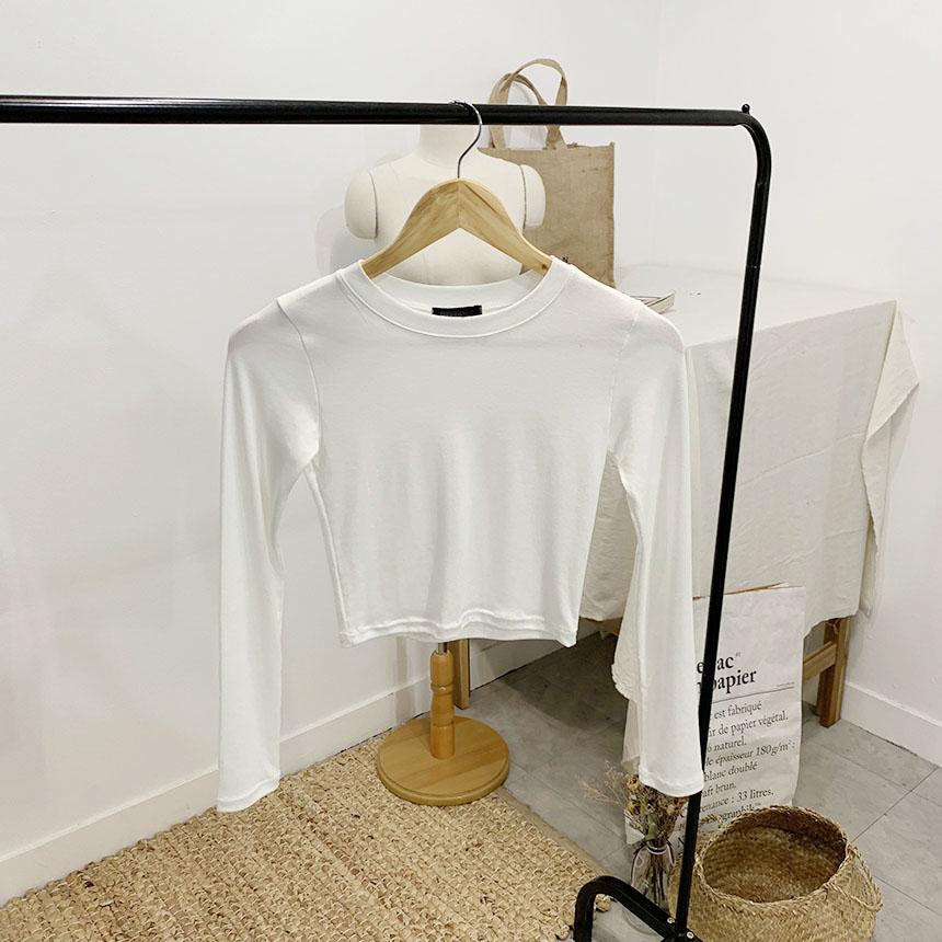 Schudner round neck cropped long-sleeved T-shirt