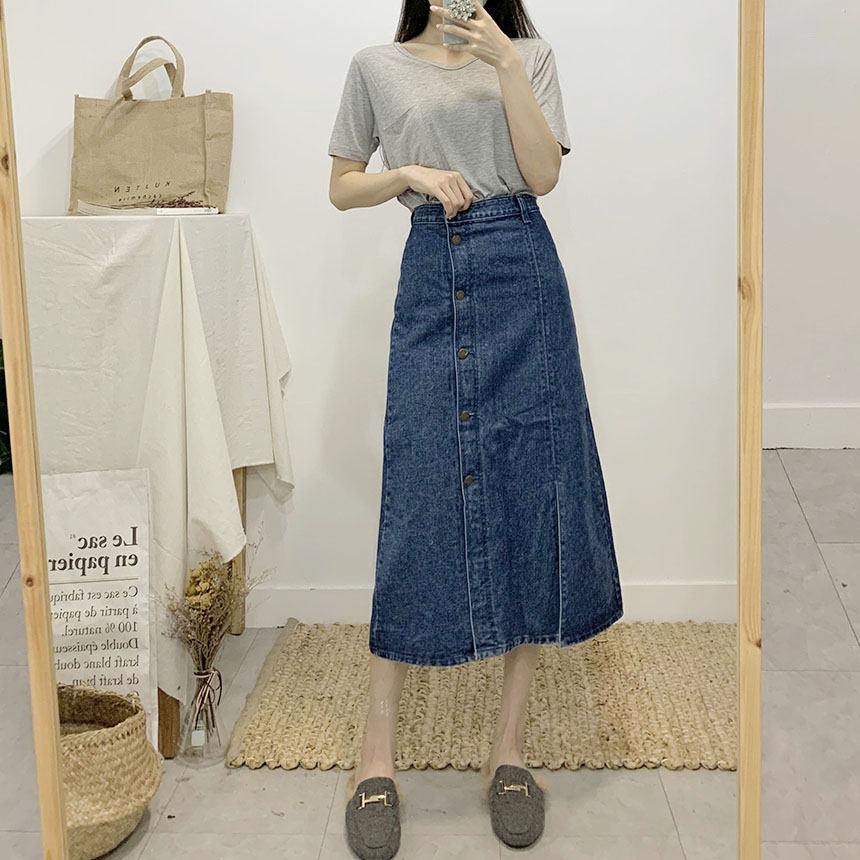 Handy's Denim Trim Long Skirt