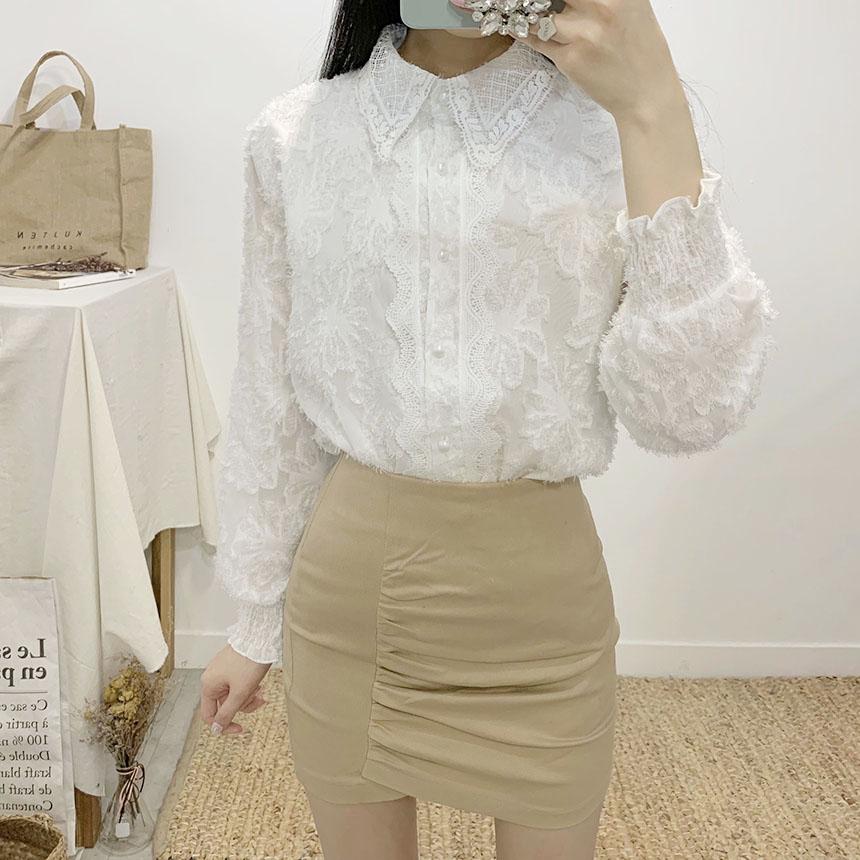 Romand shearing high-waist mini skirt