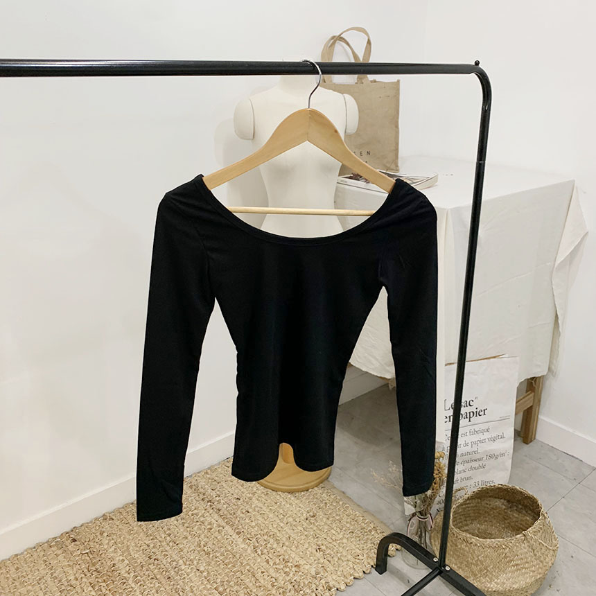 Buttering Square Neck Long Sleeve T-Shirt