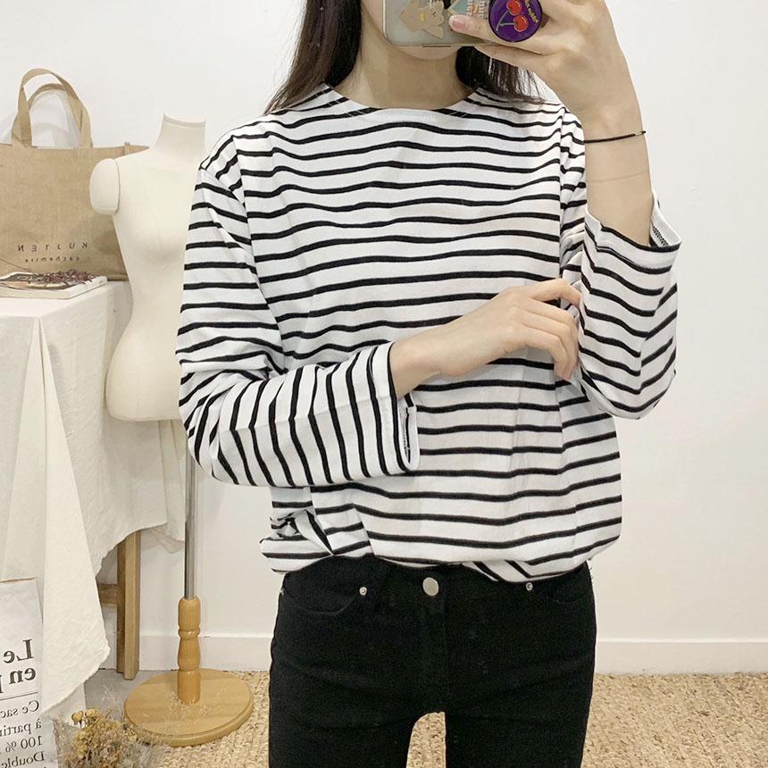 Grand Stripe Round Neck Long Sleeve T-Shirt