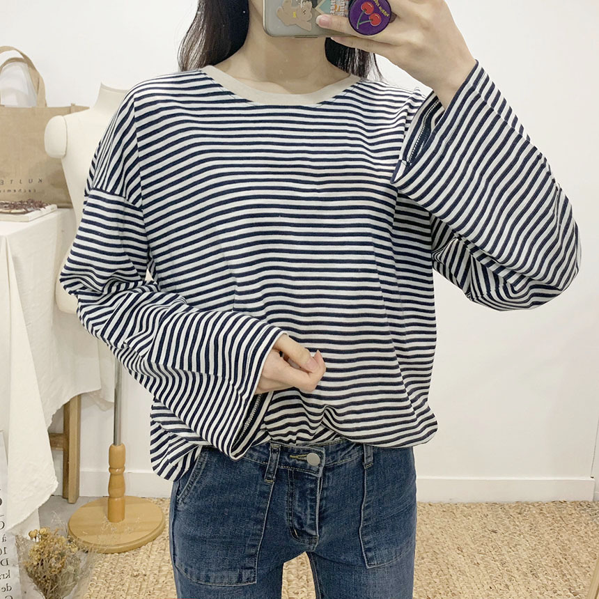 Ferret Striped Round Neck Long Sleeve T-Shirt