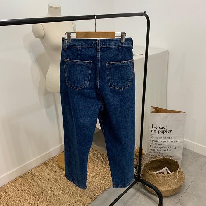 Laurent pintuck straight denim trousers
