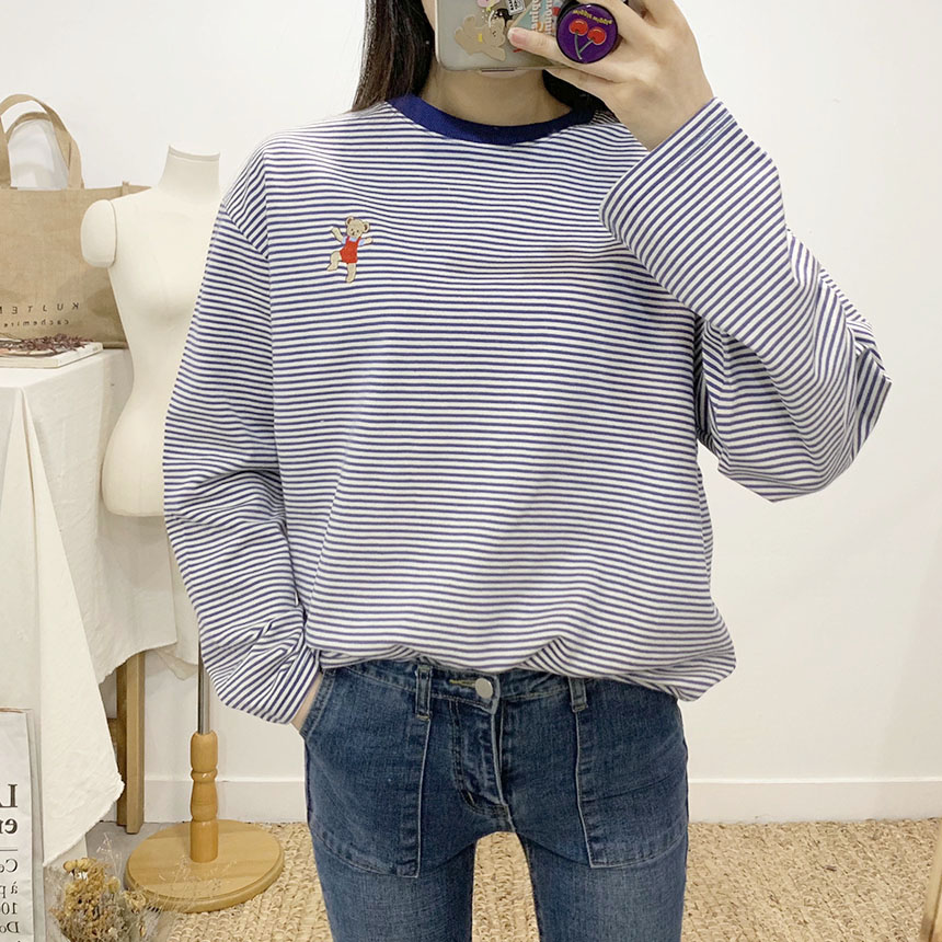 Bare Striped Round Neck Long Sleeve T-Shirt