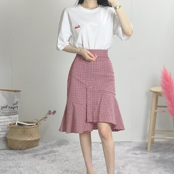 Ice Check Ruffle Long Skirt
