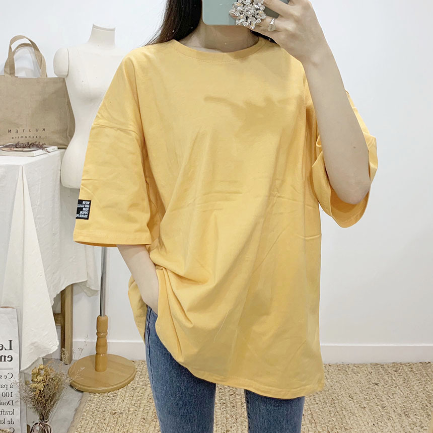 Rocking color label round neck short sleeve t-shirt