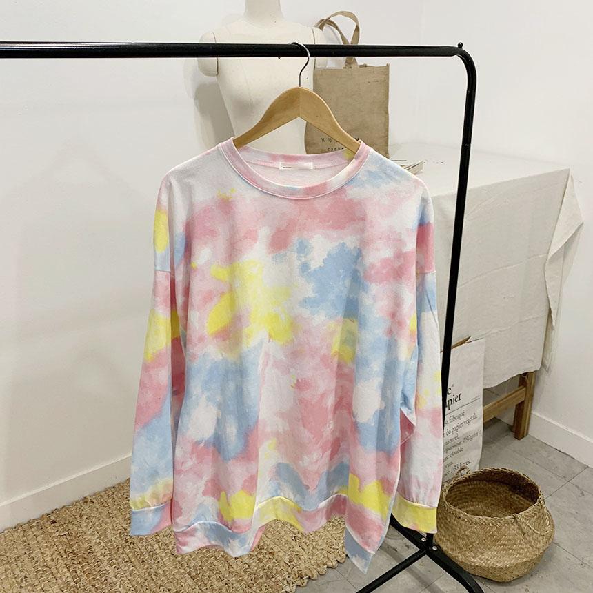 National Print Round Neck Long Sleeve T-Shirt
