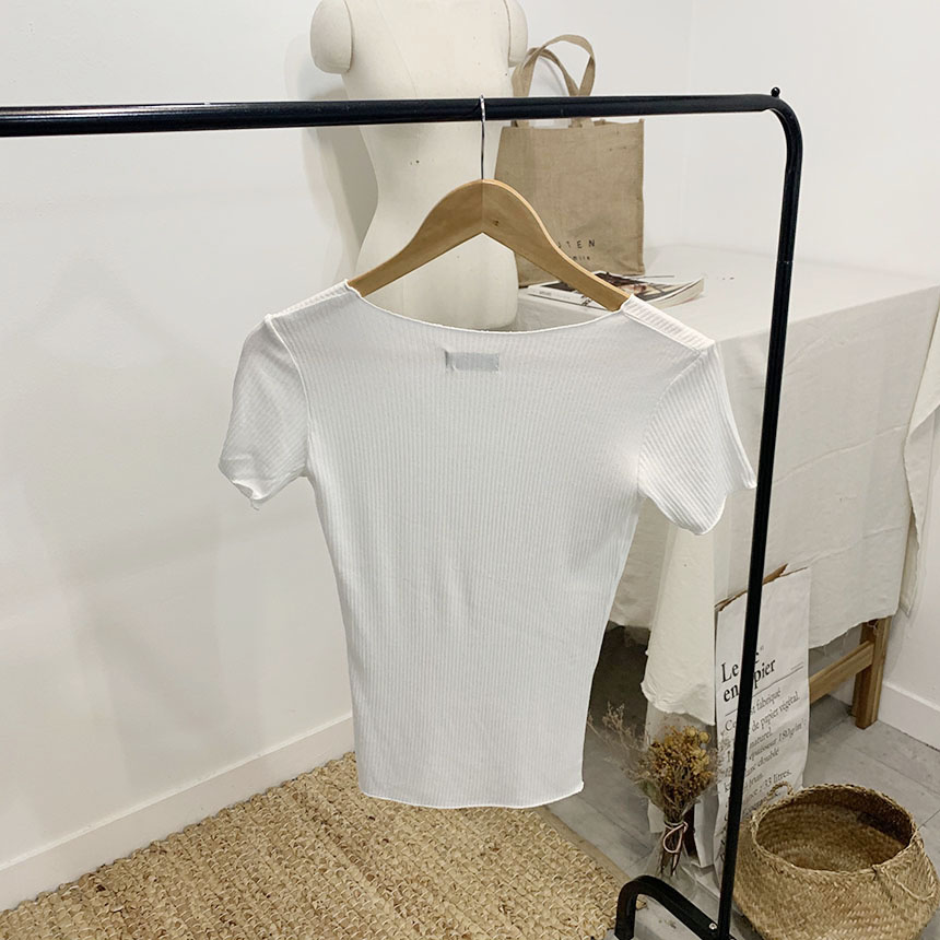 Blancshell Ribbed V Neck Short Sleeve T-Shirt