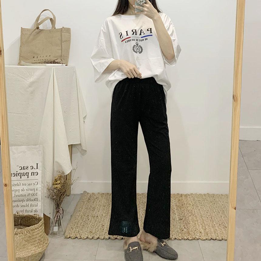 Long and long bootcut banding long pants