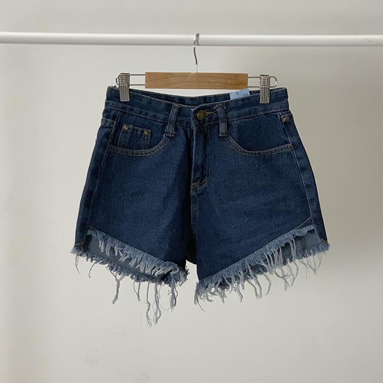Unbalanced cut denim short pants