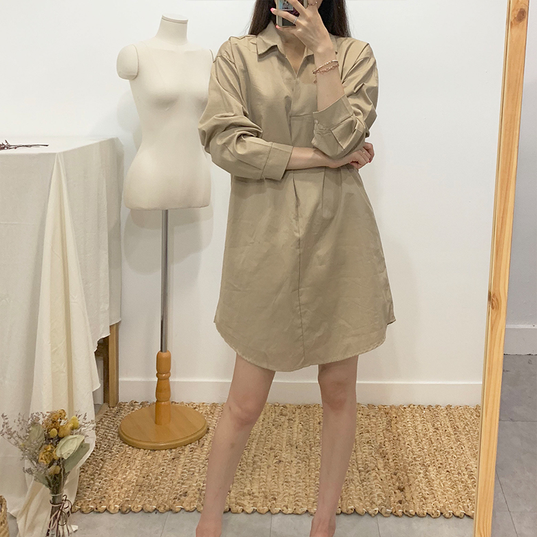 Cassia Basic Long Shirt Dress